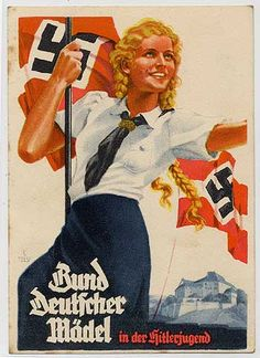 """A propaganda poster promoting the League of German Women. """"Covenant German Model (?)""""; basically what every German woman should ideally look like."""