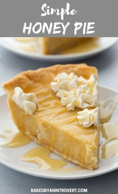 Pie Recipes 540432024035451358 - Honey Pie made with creamy honey flavored custard nestled in a crisp, flaky crust. The filling is cooked on the stovetop then poured into a prebaked pie crust for a foolproof honey custard pie. Keto Desserts, No Bake Desserts, Just Desserts, Delicious Desserts, Dessert Recipes, Desserts With Honey, Honey Dessert, Strawberry Desserts, Health Desserts