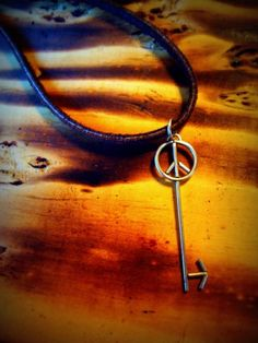 Sterling Silver Peace Skelton Key Leather Necklace