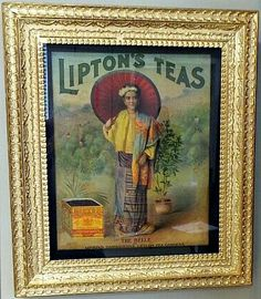 Lipton Tea Paper Sign Oriental Lady
