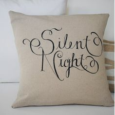 Stenciling a plain pillow with a holiday slogan turns it into an instant Christmas decoration! http://www.rewards4mom.com/diy-christmas-decorations-channel-inner-martha-stewart/
