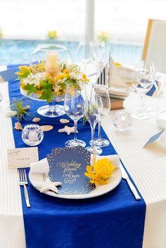 白×ブルー×イエロー : 【画像集】クロスと装花はどう組み合わせる?クロスの色別/結婚式・披露宴の会場・テ… - NAVER まとめ Wedding Table Decorations, Wedding Table Settings, Wedding Images, Wedding Ideas, Table Flowers, Blue Wedding, Banquet, Bridal, Color
