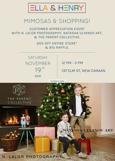 You're invited! We will be hosting a customer appreciation event with N. Lalor Photography, Natasha Ulyanov Art, & The Parent Collective. The entire store will be 20% Off* and we will be having a big raffle. The raffle will include pieces from the store, a studio photo session with N. Lalor Photography, a piece of art by Natasha Ulyanov, and one free lesson with The Parent Collective. *Exceptions Apply Please RSVP by Friday, November 18th.  @nlalor
