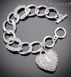 Brand woman silver bangles bracelets love Austria crystal heart-shaped bracelet wedding jewelry.