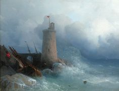 """This breathtaking work by Ivan Konstantinovich Aivazovsky was owned by the Russian Imperial family This stunning waterscape highlights the monumentality of the shores of Feodosiya, a city in Crimea Aivazovsky is considered to be one of the most famous and talented artists of all time  Dated: 1866 Canvas: 12"""" high x 15 1/4"""" wide Frame: 20 1/2"""" high x 24 1/4"""" wide $388K"""