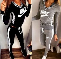 Winter Print V-Neck Sweatshirt Sweater Pants Sweatpants Set Two-Piece Sportswear clothes S / Grey Sweatpants Outfit, Adidas Outfit, Nike Outfits, Sport Outfits, Fall Outfits, Summer Outfits, Casual Outfits, Fashion Outfits, Casual Suit