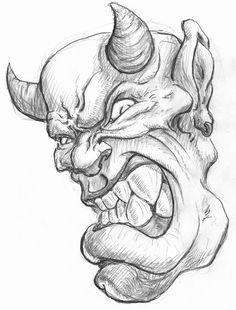 Zombie Drawings, Badass Drawings, Demon Drawings, Dark Art Drawings, Pencil Art Drawings, Art Drawings Sketches, Cartoon Drawings, Cartoon Art, Tattoo Sketches