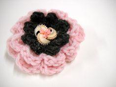 Flower Brooch, Womens Accessories, Crocheted Flower Pin, Lapel Pin, Scarf Pin, Handmade Flower Brooch, Pink, Black. $6.00, via Etsy.