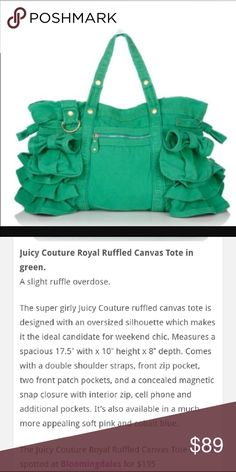 Juicy Couture Royal Ruffled Canvas Tote Excellent condition! Has been safe in storage and never really used Juicy Couture Bags Shoulder Bags
