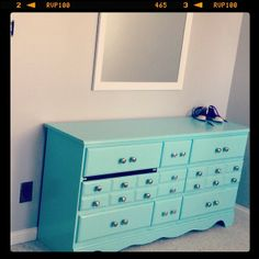 "tacky old ""girls"" dresser, yellowing white paint, chipping brass pulls, redone in robin's egg blue with stainless steel pulls. -Leah #aqua #repaint #vintage #budget #girls #grey #dresser"