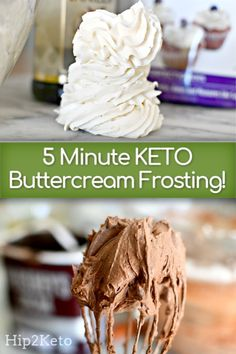 Creamy Keto Buttercream Frosting that you won't believe is low carb! Creamy Keto Buttercream Frosting that you won't believe is low carb! Keto Cupcakes, Keto Cake, Keto Cheesecake, Keto Cookies, Chip Cookies, Low Carb Sweets, Low Carb Desserts, Low Carb Recipes, Healthy Recipes