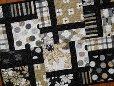 Modern Table Runner in Black Tan and Gray - Quilted Table Runner - Contemporary Runner - Long Table Quilt - Shadows by Michele D'Amore - by susiquilts on Etsy