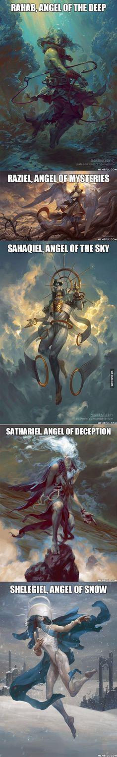 Angelarium (Part - Fantasy Book Mythological Creatures, Mythical Creatures, Fantasy World, Dark Fantasy, Digital Art Illustration, Manga Illustration, Angels And Demons, Gods And Goddesses, Fantasy Artwork
