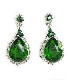 T&F Emerald Green Wedding Earrings - Vintage Style Crystal Bridal Earrings - Bridesmaid Emerald Earrings Drop Dangle on Etsy, $20.00