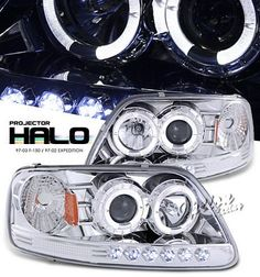 Ford F150 1997-2003 Clear Dual Halo Projector Headlights with Integrated LED