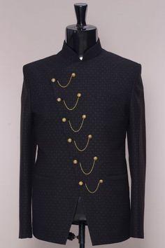 Black Printed Italian Jodhpuri Suit-ST906