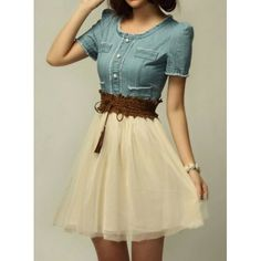 Elegant Scoop Neck Short Sleeve Denim Splicing Chiffon Dress With Belt For WomenVintage Dresses