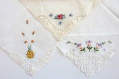 Lot of 3 Vintage Ladies Handkerchief  Delicate Floral Design with Laced Corner by vintagememory, $10.00