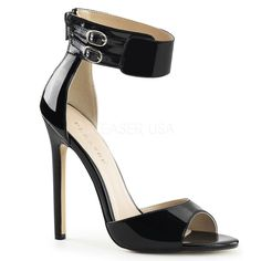 Pleaser SEXY-19 Black Patent Ankle Strap Sandals