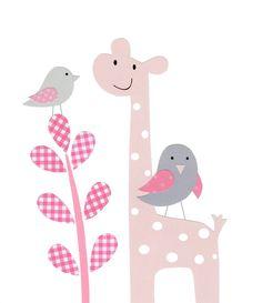 Nursery Art, Baby Girl Nursery, Kids Wall Art, Giraffe, Elephant, Tree, Birds, Owl, Pink and Gray, Set of three, 8x10 Prints. $42.00, via Etsy.