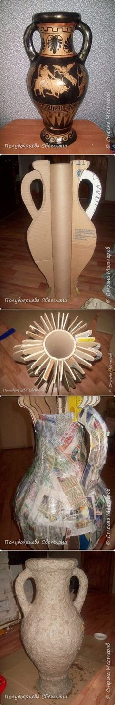 Напольная ваза из картона. Мастер-класс от Полубоярцевой Светланы