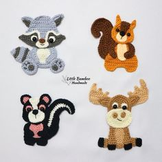 PATTERN- Woodland Animals Applique Set-Raccoon, Squirrel, Skunk and Moose – Crochet Pattern, pdf - Stofftiere Crochet Monkey Pattern, Crochet Applique Patterns Free, Crochet Motifs, Applique Designs, Crochet Appliques, Pdf Patterns, Crochet Crafts, Crochet Yarn, Crochet Hooks