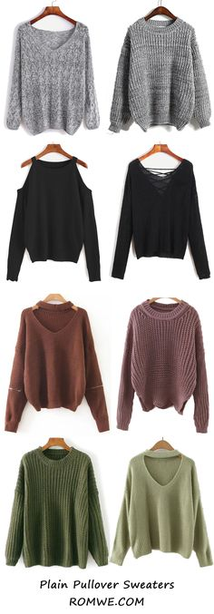 Fall Plain Sweaters from romwe.com