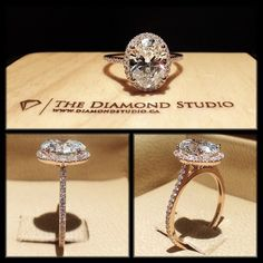 I absolutely love this design. This version was made in rose gold and features an amazing 1.70ct oval cut diamond. The diamond ...
