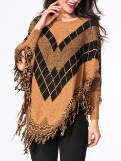 Round Neck Poncho Batwing Sleeve Fringe Sweater Only $19.95 USD More info...