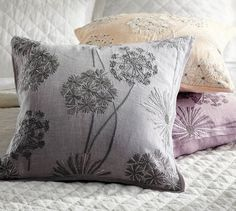 "Starburst Embroidered Linen Pillow Cover | Pottery Barn -- 20"" square; in Smoke Gray, Ivory or Quail; $69."