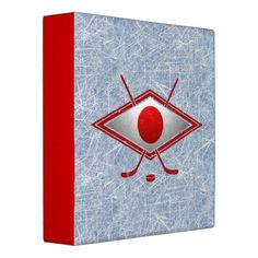 #Japan Hockey Flag Logo Folder Vinyl Binder. Great for hockey cards! To see this design on the full range of products, please visit my store: www.zazzle.com/gamefacegear*/ #Hockeycards #IceHockey