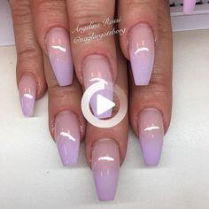 ➫ STONEXOXSTONE ➬ IG / TUMBLR / PINTEREST #ombrenailcolors Ombre Nail Colors, Purple Ombre Nails, Long Nail Art, Short Gel Nails, Square Nail Designs, Gel Nail Designs, Lavender Nails, Short Square Nails, Coffin Nails Long