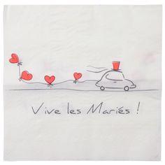 Serviette en papier mariage Vive les mariés