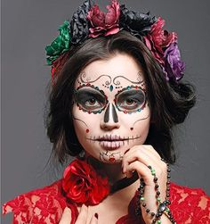 Makeup Halloween Catrina Day Of The Dead Ideas Mexican Halloween, Halloween 2017, Halloween Make Up, Halloween Crafts, Halloween Party, Mexican Costume, Up Costumes, Halloween Costumes, Dead Makeup