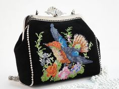 Evening handbag Embroidered Bag Suede bag IPhone Pouch   by FediyS