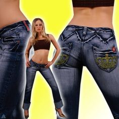 slim butt dirty jeans capris trouser denim embroider sizes 8, 10, 12 low rise
