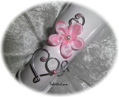 Bracelet mariage fleur cerisier rose Coeur Perles nacrées Strass cristal ♥ Bracelet fleur satin mariage fête : Bracelet par soleildelune-bijoux-mariage