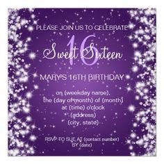 Sweet Sixteen Party Winter Sparkle Purple Custom Invites   $1.70