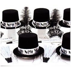 e6f3522b17f The Silver Glitz New Year Party Kit contains 25 Full Size black velour top  hats with silver prismatic Happy New Year Band