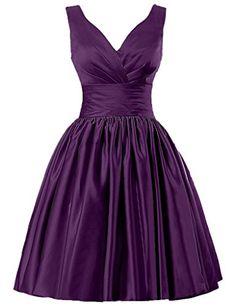 JAEDEN Short Bridesmaid Dresses Satin Prom Dress V Neck Ruched Gown * Click image for more details.