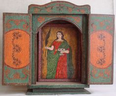 """""""Santa Lucia"""" Nicho con retablo, colonial venezolano Finales siglo XVIII. Policromado. Medidas: 50X42X11 cms."""