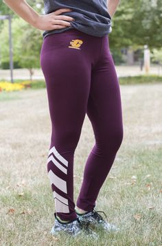Ladies Banded Maroon Leggings With Large Adidas On Leg Central Michigan