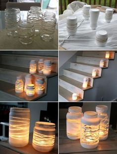Stunning Yarn Wrapped Painted Jars Lanterns - http://www.amazinginteriordesign.com/stunning-yarn-wrapped-painted-jars-lanterns/