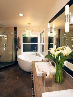 Check out this relaxing, stylish bathroom with a large soaking tub and walk-in shower on HGTV.