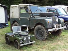 """""""Mini Me"""" said the Land Rover, """"One day you'll grow up to be as big as me"""". Rudgwick Steam and Country Show Land Rover Serie 1, Land Rover Defender, Tata Motors, Jeep Willys, Cool Trucks, Cool Cars, 4x4, Cars Land, Pedal Cars"""
