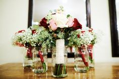 November wedding bouquets!  White, red, blush pink, and baby's breath.