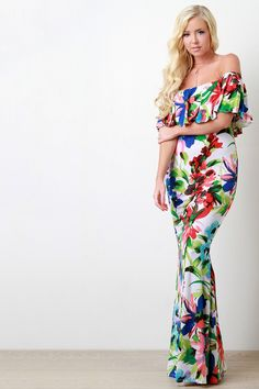 Watercolor Floral Off The Shoulder Ruffle Dress