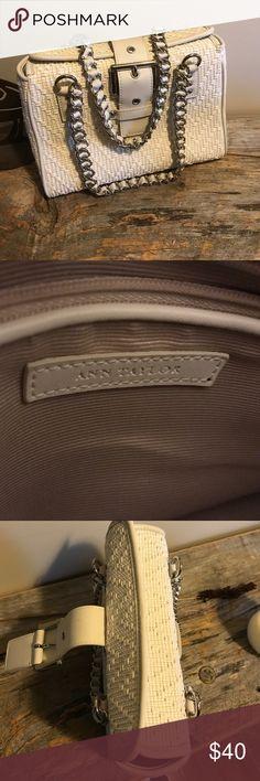 Cute Ann Taylor handbag Off white weave design with heavy chain handles. Ann Taylor Bags
