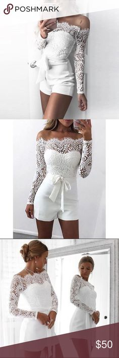 Eyelash Lace Off Shoulder Romper Wedding Rompers, Wedding Jumpsuit, Wedding Wows, Off Shoulder Romper, Short Jumpsuit, Little White Dresses, Pure White, Dress To Impress, Perfect Fit