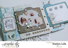 Click to see more of the beautiful pages by Nadya in this stunning Botanical Tea wish book #graphic45 #scrapbookadhesives